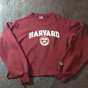 Cropped Harvard Crewneck Sweatshirt